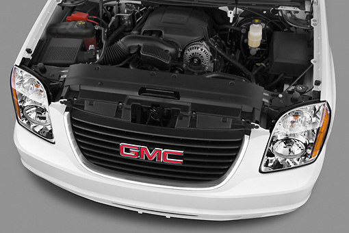 AUT 30 IZ1658 01 © Kimball Stock 2012 GMC Yukon SLE White Engine Detail In Studio