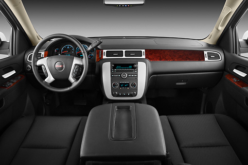 AUT 30 IZ1660 01 © Kimball Stock 2012 GMC Yukon SLE White Interior Detail In Studio