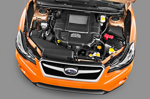 AUT 30 IZ1673 01 © Kimball Stock 2012 Subaru XV Executive SUV Orange Engine Detail In Studio