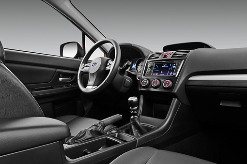 AUT 30 IZ1674 01 © Kimball Stock 2012 Subaru XV Executive SUV Orange Interior Detail In Studio