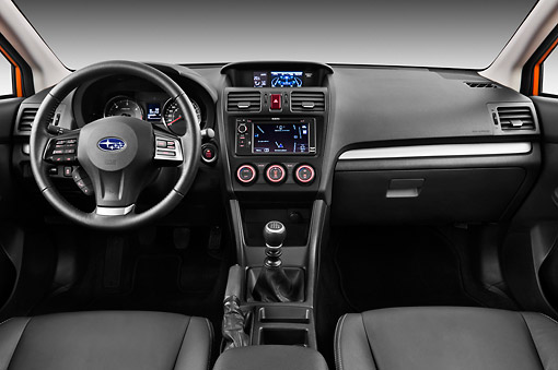 AUT 30 IZ1676 01 © Kimball Stock 2012 Subaru XV Executive SUV Orange Interior Detail In Studio