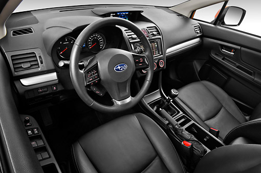 AUT 30 IZ1677 01 © Kimball Stock 2012 Subaru XV Executive SUV Orange Interior Detail In Studio