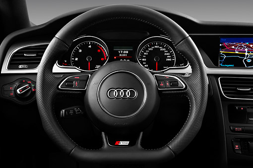 AUT 30 IZ1690 01 © Kimball Stock 2012 Audi A5 S Line Coupe Blue Interior Detail In Studio
