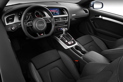 AUT 30 IZ1697 01 © Kimball Stock 2012 Audi A5 S Line Coupe Blue Interior Detail In Studio