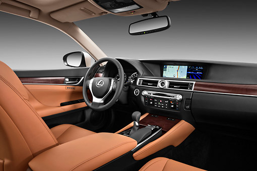 AUT 30 IZ1699 01 © Kimball Stock 2013 Lexus GS 350 Tan Interior Detail In Studio