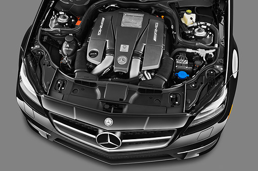 AUT 30 IZ1727 01 © Kimball Stock 2013 Mercedes-Benz CLS63 AMG Sedan Black Engine Detail In Studio