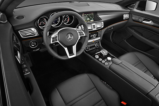 AUT 30 IZ1729 01 © Kimball Stock 2013 Mercedes-Benz CLS63 AMG Sedan Black Interior Detail In Studio