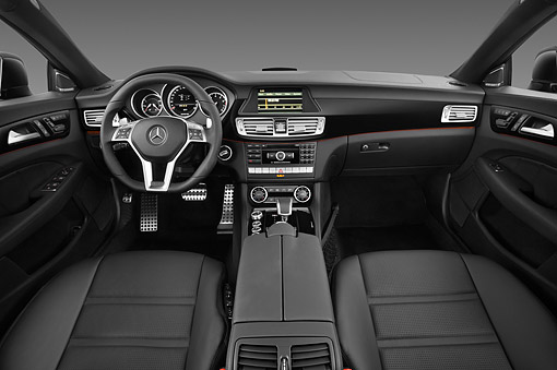 AUT 30 IZ1730 01 © Kimball Stock 2013 Mercedes-Benz CLS63 AMG Sedan Black Interior Detail In Studio