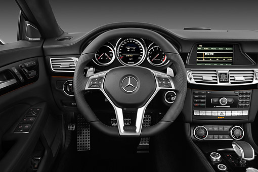 AUT 30 IZ1731 01 © Kimball Stock 2013 Mercedes-Benz CLS63 AMG Sedan Black Interior Detail In Studio