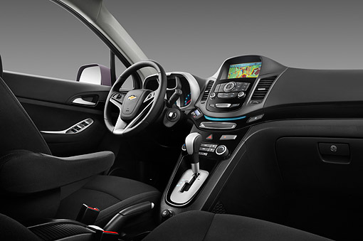 AUT 30 IZ1745 01 © Kimball Stock 2013 Chevrolet Orlando LTZ+ MPV Purple Interior Detail In Studio