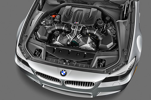 AUT 30 IZ1753 01 © Kimball Stock 2013 BMW M5 Gray Engine Detail In Studio