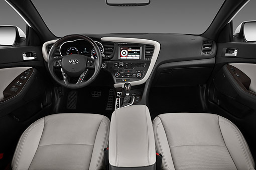 AUT 30 IZ1761 01 © Kimball Stock 2013 Kia Optima SXL Sedan White Interior Detail In Studio