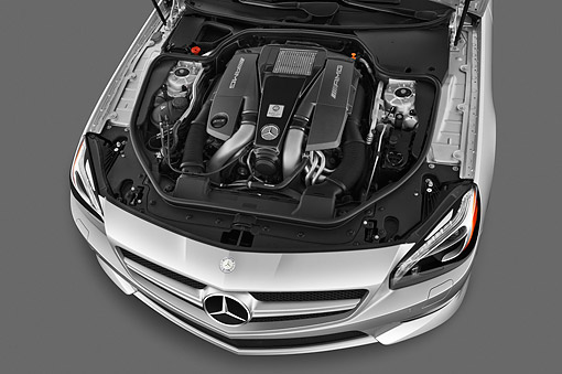 AUT 30 IZ1764 01 © Kimball Stock 2013 Mercedes-Benz SL63 AMG Convertible Silver Engine Detail In Studio