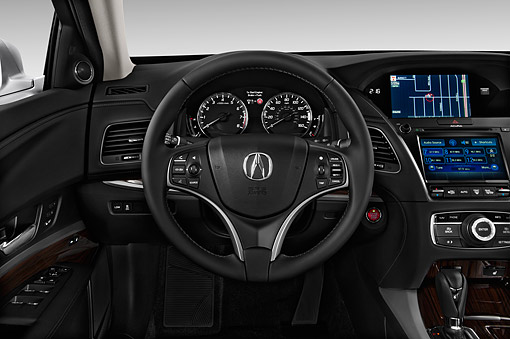 AUT 30 IZ1791 01 © Kimball Stock 2014 Acura RLX 3.5 4-Door Sedan White Interior Detail In Studio
