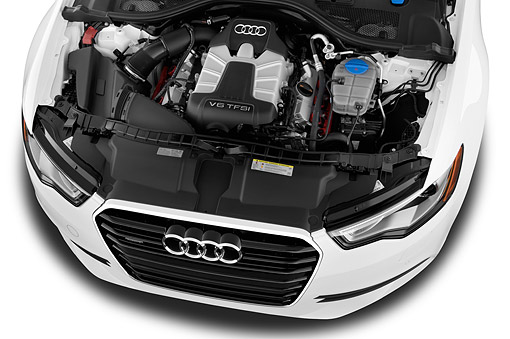 AUT 30 IZ1808 01 © Kimball Stock 2014 Audi A6 3.0t Quattro Tiptronic Premium 4-Door Sedan Studio Engine Detail