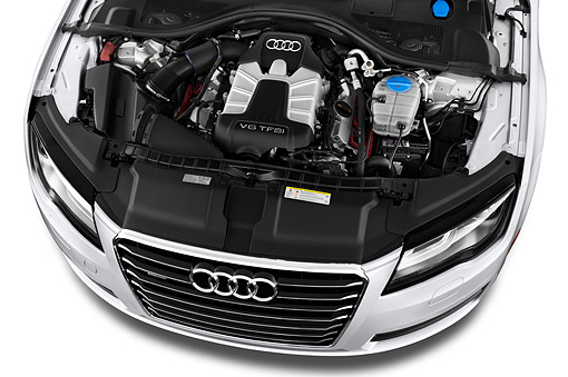 AUT 30 IZ1812 01 © Kimball Stock 2014 Audi A7 3.0t Quattro 4-Door Sedan Engine Detail
