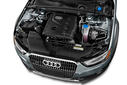 AUT 30 IZ1816 01 © Kimball Stock 2014 Audi Allroad TFSI Quattro 8-Speed Tiptronic 4-Door Wagon Engine Detail In Studio