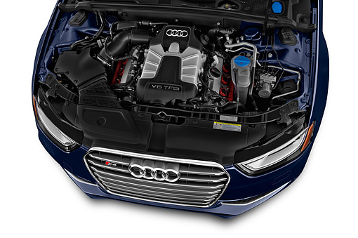 AUT 30 IZ1828 01 © Kimball Stock 2014 Audi S4 3.0t Quattro Manual Premium Plus 4-Door Sedan Engine Detail