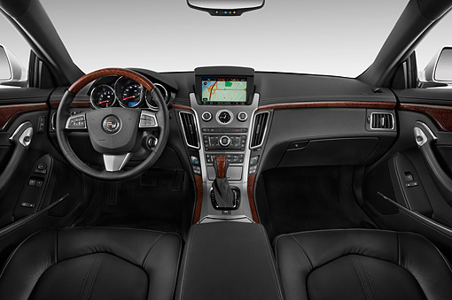AUT 30 IZ1884 01 © Kimball Stock 2014 Cadillac CTS Coupe RWD Premium Collection 2-Door White Interior Detail