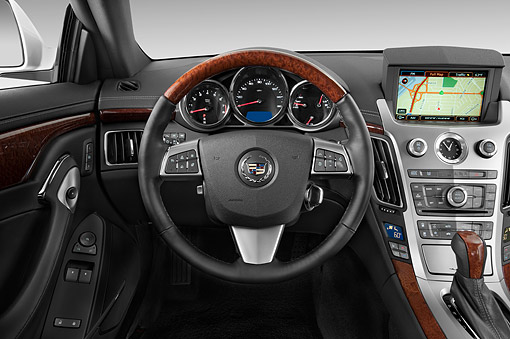 AUT 30 IZ1885 01 © Kimball Stock 2014 Cadillac CTS Coupe RWD Premium Collection 2-Door White Interior Detail