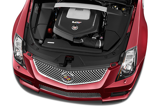 AUT 30 IZ1886 01 © Kimball Stock 2014 Cadillac CTS Coupe V RWD 2-Door Engine Detail In Studio