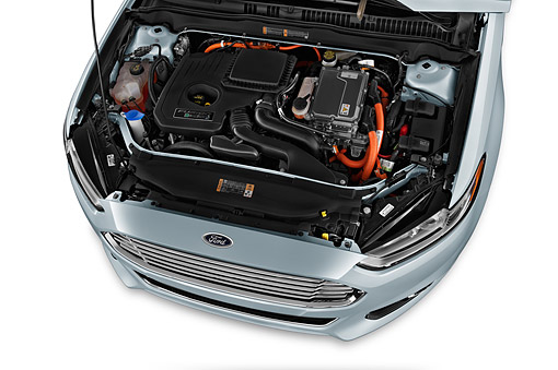 AUT 30 IZ1973 01 © Kimball Stock 2014 Ford Fusion Energi Plug-In Hybrid Titanium 4-Door Sedan Engine Detail