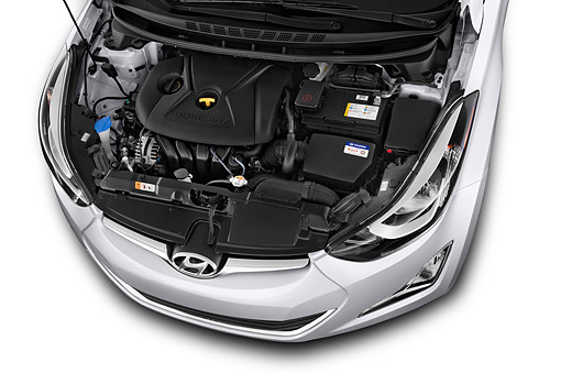 AUT 30 IZ2009 01 © Kimball Stock 2014 Hyundai Elantra SE 4-Door Sedan Engine Detail