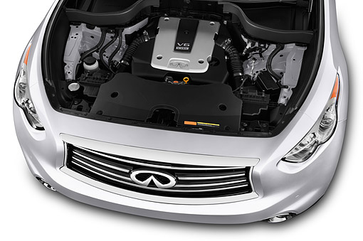 AUT 30 IZ2094 01 © Kimball Stock 2014 Infiniti QX70 3.5 5-Door SUV Engine Detail