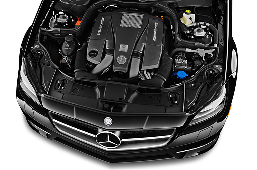 AUT 30 IZ2288 01 © Kimball Stock 2014 Mercedes Benz CLS Class 63 AMG 2-Door Coupe Engine Detail