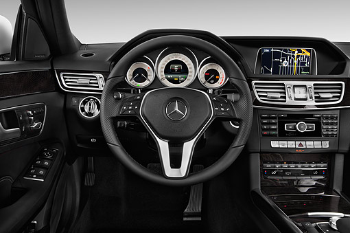 AUT 30 IZ2303 01 © Kimball Stock 2014 Mercedes Benz E-Class 350 Sport Sedan 4-Door Interior Detail