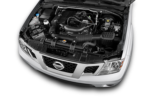 AUT 30 IZ2324 01 © Kimball Stock 2014 Nissan Frontier 4.0 SV King Cab 4x4 AT SWB 2-Door Truck Engine Detail