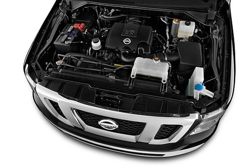 AUT 30 IZ2344 01 © Kimball Stock 2014 Nissan NV Passenger 3500 SV V8 2-Door Engine Detail