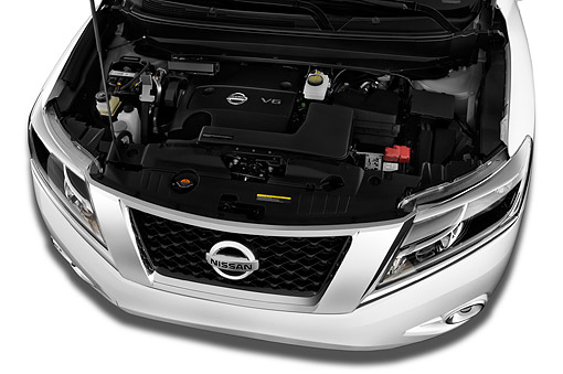 AUT 30 IZ2348 01 © Kimball Stock 2014 Nissan Pathfinder SL 2WD 5-Door SUV Engine Detail