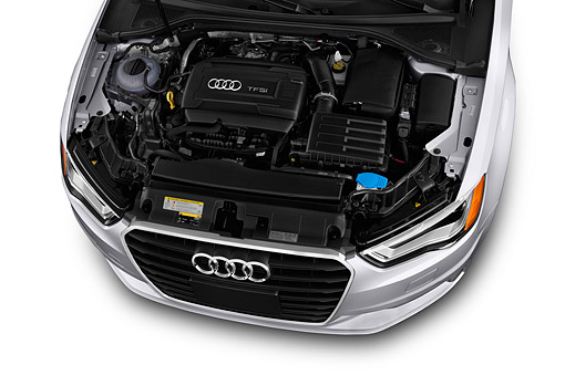 AUT 30 IZ2424 01 © Kimball Stock 2015 Audi A3 2.0 T DSG 4-Door Sedan Engine Detail