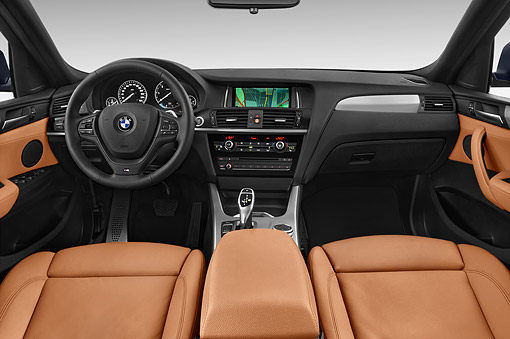 AUT 30 IZ2482 01 © Kimball Stock 2015 BMW X4 XDrive 28i 5-Door SUV Interior Detail In Studio