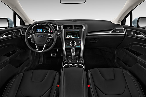 AUT 30 IZ2584 01 © Kimball Stock 2015 Ford Fusion Energi Plug-In Hybrid Titanium 4-Door Sedan Interior Detail