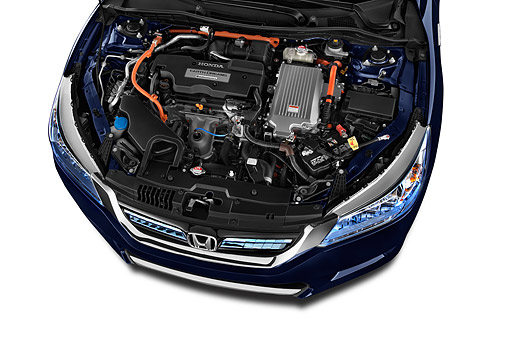 AUT 30 IZ2602 01 © Kimball Stock 2015 Honda Accord Hybrid 4-Door Sedan Engine Detail