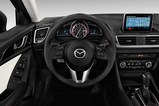 AUT 30 IZ2870 01 © Kimball Stock 2015 Mazda 3i Grand Touring AT 5-Door Hatchback Interior Detail