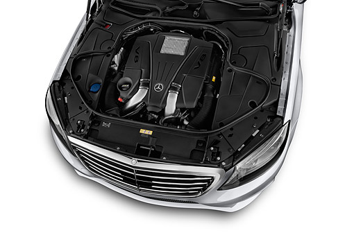 AUT 30 IZ2883 01 © Kimball Stock 2015 Mercedes Benz S-Class 550 4-Door Sedan Engine Detail