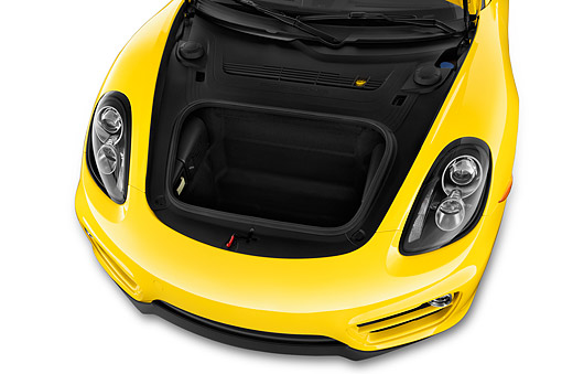 AUT 30 IZ2911 01 © Kimball Stock 2015 Porsche Cayman Base 2-Door Coupe Engine Trunk Detail
