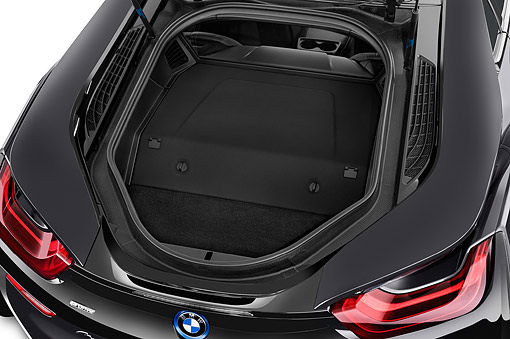 AUT 30 IZ2943 01 © Kimball Stock 2014 BMW i8 Hybrid 2-Door Coupe Front Trunk Detail