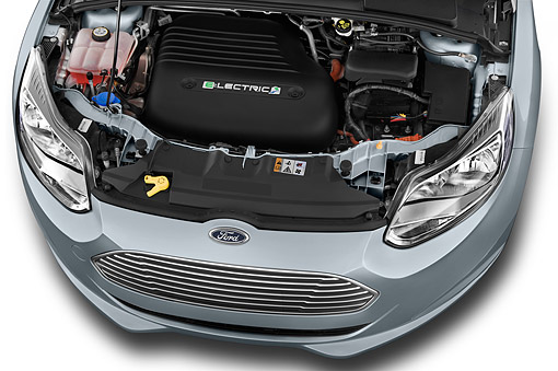 AUT 30 IZ2951 01 © Kimball Stock 2014 Ford Focus BEV Electric 5-Door Hatchback Engine Detail