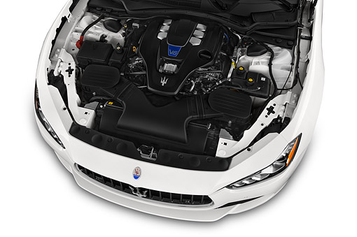 AUT 30 IZ2959 01 © Kimball Stock 2014 Maserati Ghibli Base 4-Door Sedan Engine Detail