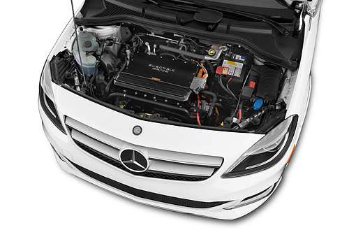 AUT 30 IZ2963 01 © Kimball Stock 2014 Mercedes Benz B Class Electric Drive 5-Door MPV Engine Detail
