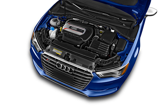 AUT 30 IZ2991 01 © Kimball Stock 2015 Audi S3 Premium Plus 4-Door Sedan Engine Detail