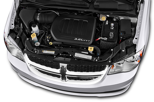 AUT 30 IZ3026 01 © Kimball Stock 2015 Dodge Grand Caravan SE 4-Door Mini Van Engine Detail