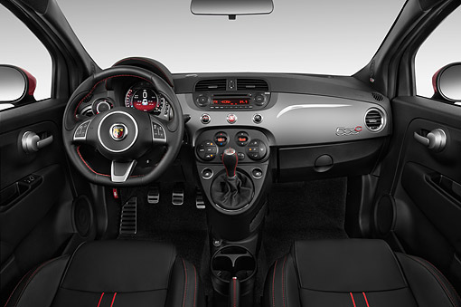 AUT 30 IZ3044 01 © Kimball Stock 2015 Fiat 500c Abarth Cabrio 2-Door Interior Detail