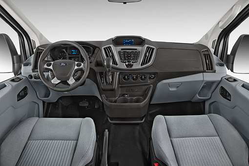 AUT 30 IZ3068 01 © Kimball Stock 2015 Ford Transit 250 Van Medium Roof Pass 130 Interior Detail