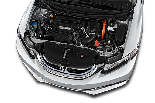 AUT 30 IZ3078 01 © Kimball Stock 2015 Honda Civic Hybrid CVT 4-Door Sedan Engine Detail