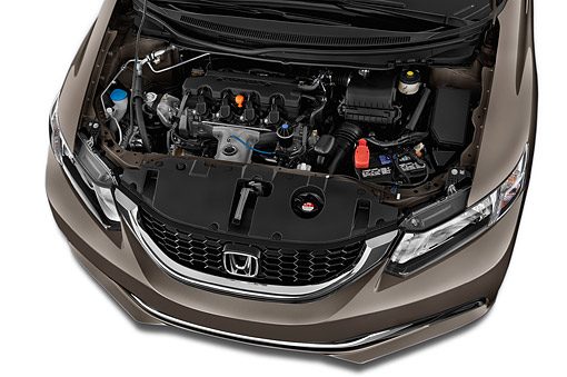 AUT 30 IZ3082 01 © Kimball Stock 2015 Honda Civic Sedan EX L Auto 4-Door Engine Detail